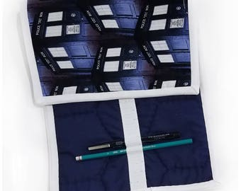 Quilted Pencil Case - Tardis/Navy