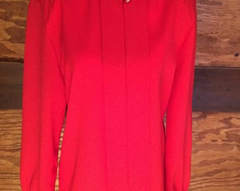 1980's Vintage Red High Button Blouse