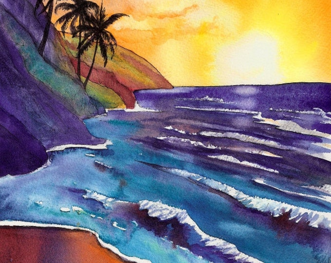 sunset art, kauai na pali coast, giclee print 8x10, tropical beach, hawaiian decor, hawaii beaches, ocean scene, seascape prints, kauaiart