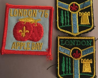 3 Vintage Scouts Canada London District Patches 1976 Apple Day 2 Crests