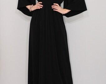 Black kimono dress / Black maxi dress / Long black dress