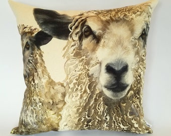 Longwool Ram Cushion Cover, ram pillow, farm animals, farmyard faces, farming gifts, gifts for animal lovers, rural life, countryside