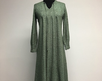 MOSS green knit dress late 70s early 80s.