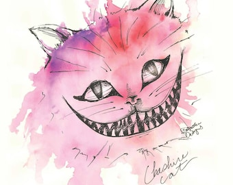 Cheshire Cat - Alice in Wonderland Inked Beautiful Watercolor Print