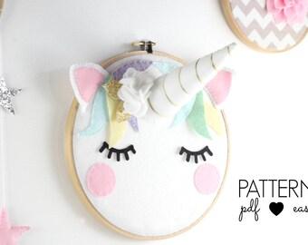 Unicorn Art Pattern- Unicorn Head  Nursery Art  Scandinavian Nursery Decor  Boho Unicorn  Sleepy Eyes  Felt Pattern  Unicorn Decor