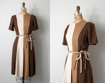 vintage 1960s dress / 60s dress / striped dress / 60s brown dress  / the Cafe Con Leche dress
