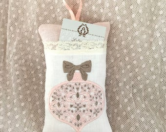 Embroidered Pillow ticket Christmas shabby chic Lavender