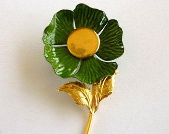 Enamel Flower Pin Brooch, Green Floral Brooch, Enamel Jewelry