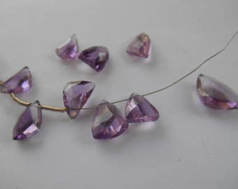 Gemstone Bead,Amethyst, Large, Geometric triangle Brios,Amethyst Beads, Top Drilled Amethyst Various sized  12mm priced per pc