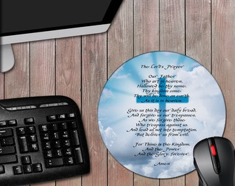 The Lord's Prayer Religious 8 Inch Round Mousepad - Religious Mousepad - Jesus - Christian -  Free Shipping