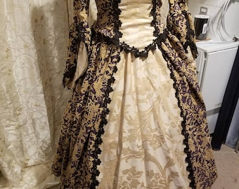 Purple and Gold 4 piece Renaissance Gown