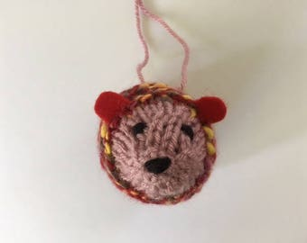 Knitted Hedgehog Christmas ornament