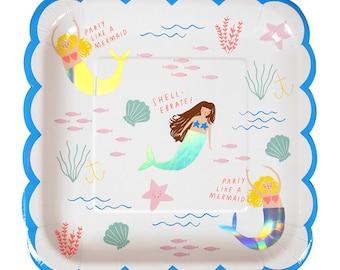 Meri Meri Let's be Mermaid Large scallop die cut plates set of 8