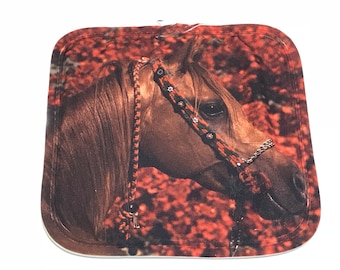 Brown Horse With Red Flowers Hot Pad / Pot Holder