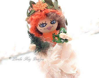 Miniature Mori Girl Peg Doll Wooden Felted Spun Cotton Doll Whimsical Nature Girl With Frog Doll Lorelie's Lovelies
