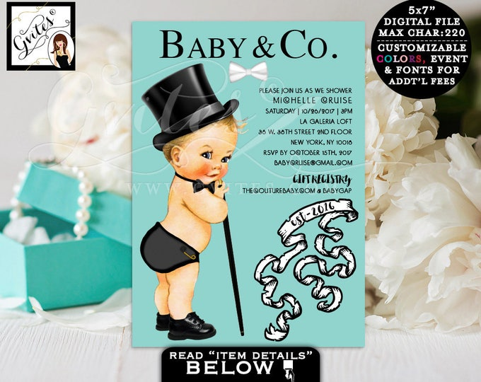 Baby and co baby shower boy invites, baby boy, little man, bow tie, top hap, elegant baby shower invitations, blue white. Digital! Gvites