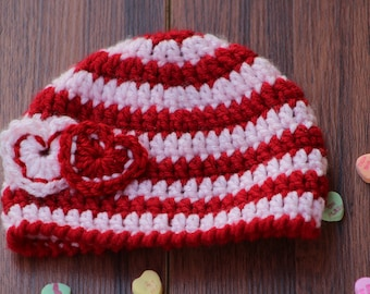 Crochet baby hat, Newborn preemie hat, Twins baby hats, valentines photo prop,  infant hat, Crochet photo prop, valentines day gift for baby