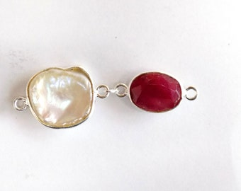 Ruby with Pearl Keashi Jewellery Finding and Connectors in Bezel .925 Sterling Silver