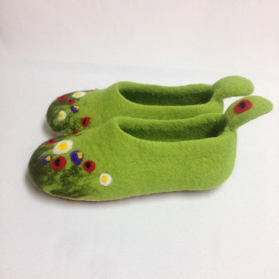 home women for order felted clogs felt Warm slippers rubber soles shoes woolen Made Vegan Green felt Wool handmade shoes to wIRYtq4