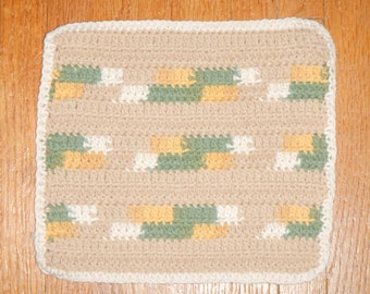 "CLEARANCE - Eco Friendly 100% Cotton hand-crocheted 8"" x 8"" washcloth/dishcloth/dishrag - Tan, Gold, Sage Green & Off-White Striped"