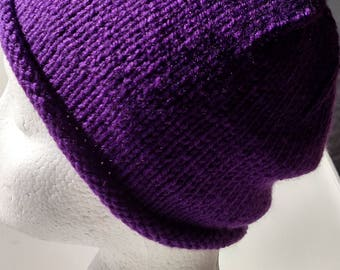 Purple Passion Rolled Brim Knitted Hat