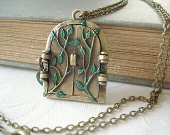 Fairy Door Locket Hand Painted Locket Leaf Locket Door Necklace Whimsical Jewelry Woodland Locket Whimsical Locket