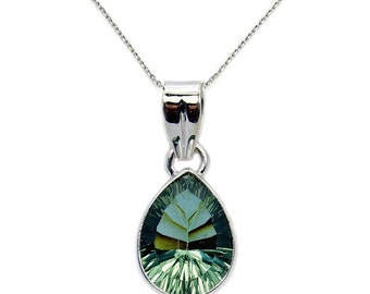 Reflections Green Purple Color Change Alexandrite Pendant Necklace Sterling Silver Pendant Necklace  Chain AE64X