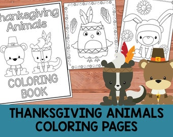 Thanksgiving Woodland Animals Coloring Book Pages - The Crayon Crowd, printable, party favors, Coloring book, pages, kids, fall, pilgrim