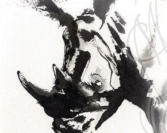 "Martinefa's Original watercolor and Ink ""Rhino"""