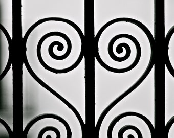 Black and White Photography - Heart Art - Barcelona Print - Valentine's Gift