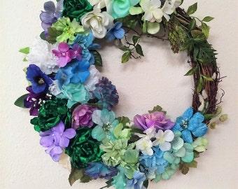Spring Wreath- The HARMONY IN BLUE Wreath-Blue Wreath-Large Wreath-Spring Wreath-Easter Wreath-Handmade Decorative Wreath-Summer Wreath