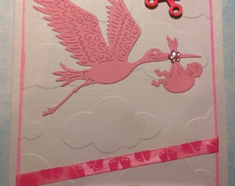 "handmade ""Congratulations"" baby girl card"