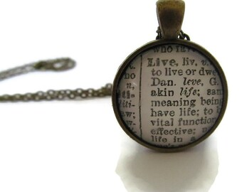 LIVE Definition Necklace, Definition of LIVE, Inspirational Jewelery,  Silver Plated or Bronze