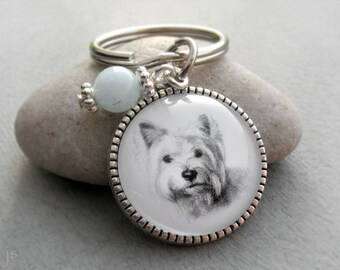 West Highland White Terrier Key Ring, Pet Portrait Keychain, Pet Gift, Westy Keychain, Gemstone, Birthstone Keychain, Pet Memorial Gift