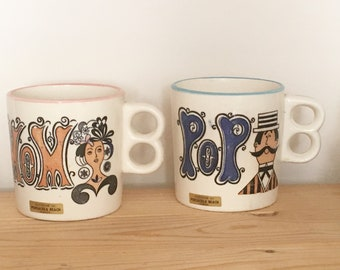 Pair Old Fashion Mom and Pop Mugs Trigger Handle Mugs Souvenir Pensacola Beach Florida Made in Japan
