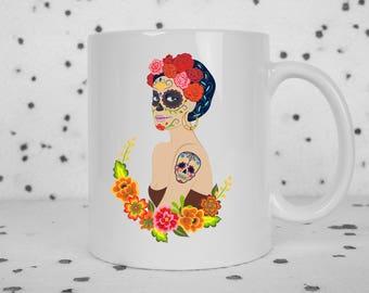 Day of the Dead mug, Dia de los Muertos mug, sugar skull, tattoed lady, halloween mug, cantina woman, latina mug, los muertos mug, halloween