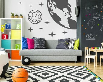 Astronomy Wall Decal Wall Art, Wall Art Stars Moon Wall Decal,  Bedroom Wall Decor Moon Stars,