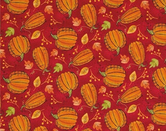 Autumn Road Pumpkins Red  ~ Fall Quilting Fabric by  Katie Doucette  for Wilmington Fabircs