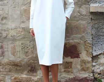 White Maxi Dress/ Lace dress/ Long sleeve dress/ Plus size dress/ Midi dress/ Elegant dress/ Dress with pockets/ Lace dress