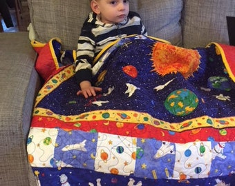 Outer space quilt, space ship quilt, birthday gift, Christmas gift,  Primary colors, Red, blue quilt, handmade quilt, outerspace, planets,
