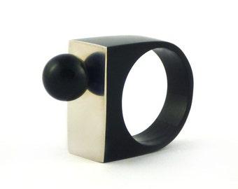 Resin Ring Pearl Swarovski Black Ring Geometric Ring Resin Jewelry Ring with Pearl Swarovski Crystals Statement Ring Gift for Her Unique