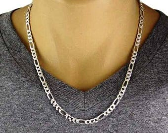 """Men's 925 Sterling Silver Figaro Chain Necklace - 150 Gauge 6 mm - 20""""/22""""/24"""""""