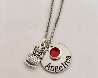 Personalized Stainless steel name birthstone owl charm Necklace Gift Hand Stamped