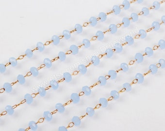 16Feet Gold Plated Wire Wrapped 3mm Periwinkle Light Blue Crystal Quartz Roundel Beaded Rosary Chain Faceted Beads Chain Finding JT223