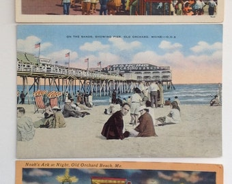 Old Orchard Beach, Maine, Vintage Postcards, 1940-60's, OOB, beach, Noah's Ark, Maine Coast, Casino, Pier, Old Postcards