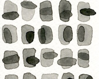Grey Slate 02: Original ACEO watercolor painting monotone shades of grey pattern abstract minimalist modern art contemporary wall decor