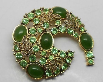 PRICE REDUCED! Vintage Green Rhinestone and Cabochon Brooch