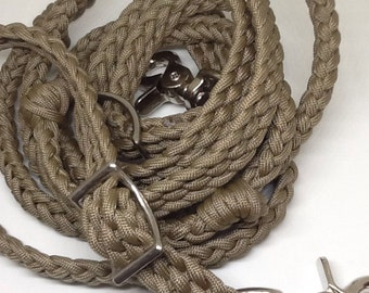 barrel reins, barrel reins with grip knots,  tan reins , horse tack, paracord reins, custom horse tack, braided horse tack