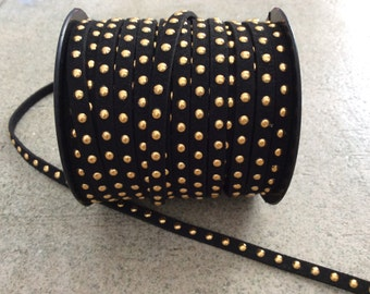 black and gold studded faux suede cord jewelry making supplies wrap bracelet boho