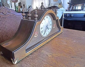 Vintage Lanshire Self Starting Electric Tambour Mantel Military Clock